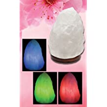 Natural Himalayan Snow White Rock Salt Mini Lamp with Wood Base, USB Powered & Multi Color LED (Bulbs Included)