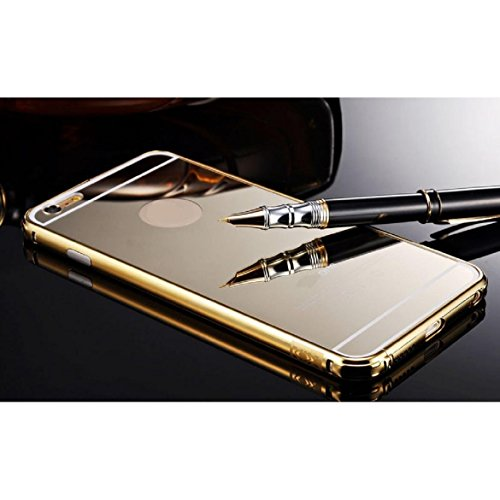Sankuwen? 2015 Ultra-thin Luxury Aluminum Metal Mirror Case Cover for iPhone 6 Plus (Gold)