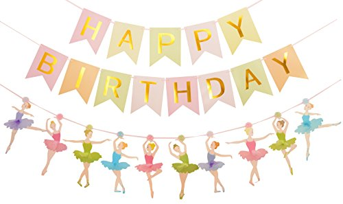 MEANT2TOBE Ballet Dancer Party Supplies Baby Girl Favor - Happy Birthday Banner-Ballet Girls Dancer Banner Garland for Birthday Party Favors Decor (Ballerina Birthday Party Decoration) ()