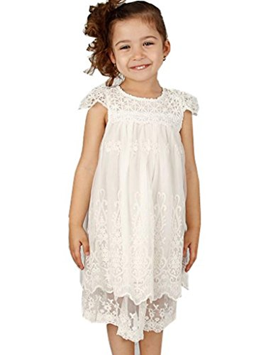 Bow Dream Vintage Rustic Baptism Lace Flower Girl's Dress Off White -