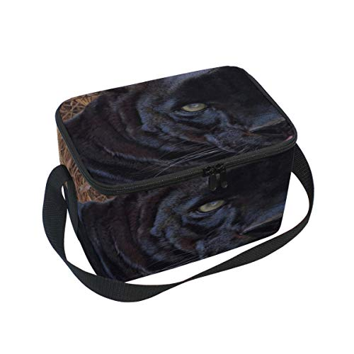 Maxm Insulated Neoprene Lunch Bag Panther Grass Face Teeth Aggression Large Size Reusable Thermal Thick Lunch Tote Bags For Lunch Boxes For Outdoors,work, Office, School