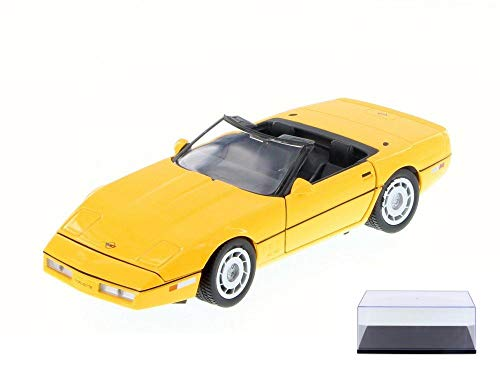 - Motor Max Diecast Car & Display Case Package - 1986 Chevy Corvette Convertible, Yellow 73298/16D - 1/24 Scale Diecast Model Toy Car w/Display Case