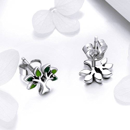 BISAER Tree of Life 925 Sterling Silver Stud Earrings with Green Enamel Leaves, Cute Post Stud Earring Hypoallergenic Jewelry for Women. by BISAER (Image #3)'