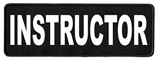 Instructor ID Patch - 11x4 - White Lettering - Black Twill Backing - Hook Panel