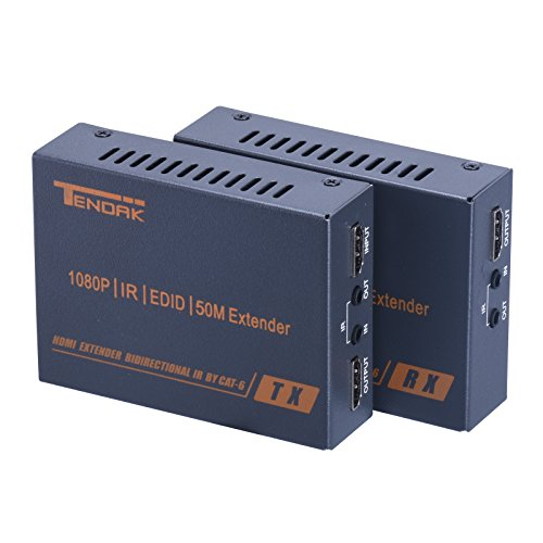 Tendak Full HD 1080P HDMI Bidirectional IR UTP Extender Over Single Cat6 Ethernet Cable Up To 50 Meters (164 Feets) Supports 3D & - Locations Optical Rx