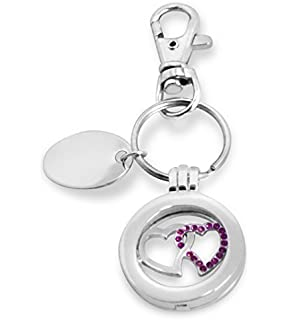 personalised keyring with gift pouch Custom Engraved Loop Heart PL165