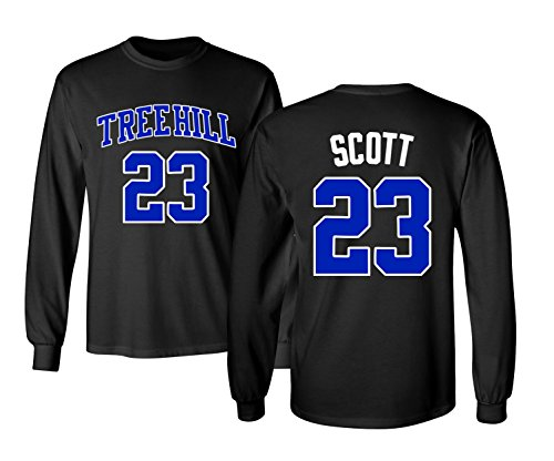 KINGS SPORTS Ravens Basketball Movie #23 Nathan Scott One Tree Hill Jersey Style Men's Long Sleeve T Shirt (Black,S) (Nathan Scott One Tree Hill)