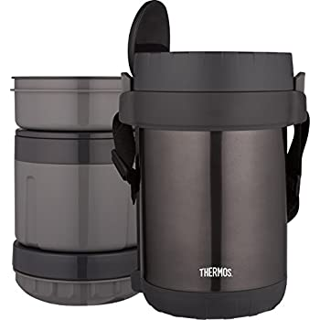 THERMOS All-In-One Vacuum Insulated Stainless Steel Meal Carrier with Spoon, Smoke