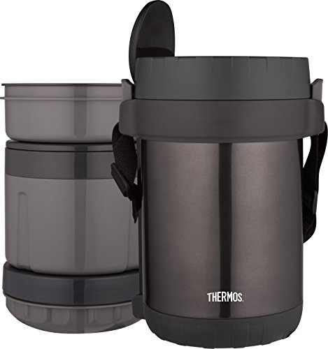 THERMOS All-In-One Vacuum Insulated Stainless Steel Meal Carrier with Spoon, Smoke ()