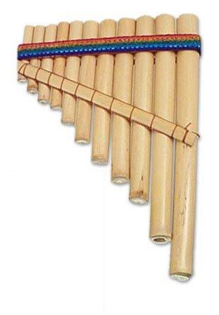 NOVICA Reed Zampona Panpipe Wood Wind Instruments, Beige 'Laca'