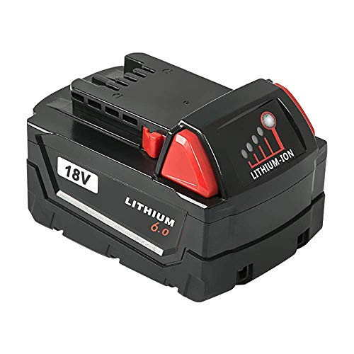 NeBatte 1 Pack 18V 6.0Ah Battery Compatible with Milwaukee M18  48-11-1820 48-11-1840 48-11-1850 48-11-1828 Cordless Power Tools Milwaukee  M18 Battery