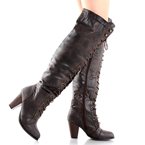 Forever Camila-48 Womens Chunky Heel Lace Up Over The Knee High Riding Boots, Brown 15, 6 B(M) US -