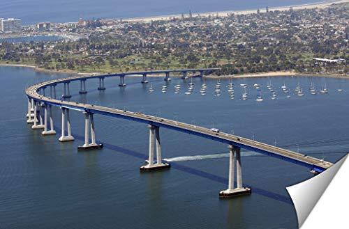 (Ashley Giclee Panoramic View of San Diegos Coronado Bay Bridge, 20x25 Print)
