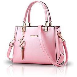 NICOLE&DORIS Women Fashion Handbag Crossbody Shoulder Purse Bag for Ladies Water Resistant Totes PU Leather Pink