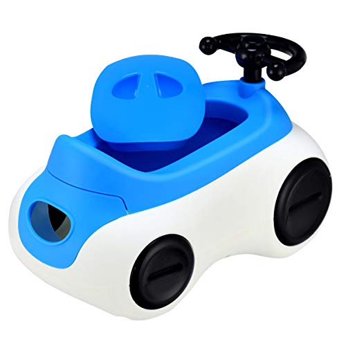 Costzon 2 in 1 Toddlers Potty Training Seat, Kids Car-Shaped Detachable Toilet Chair W/Drawer Non-Slip Feet Steering Wheel & Horn for Boys & Girls, Baby Training Stool (Blue)