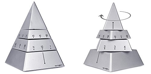 Pyramid Table Clock - Time Pyramid Desk Clock Moving Sculpture Timepiece 6 inches - Silver
