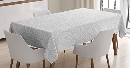 Ambesonne Celtic Tablecloth, Retro Tribal Celtic Knots Eternity Forms Pattern Boho Ireland Irish Floral Artwork, Dining Room Kitchen Rectangular Table Cover, 52