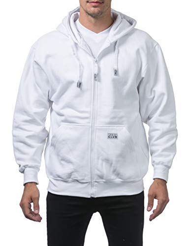 (Pro Club Men's Heavyweight Full Zip Fleece Hoodie, Small, Snow White)