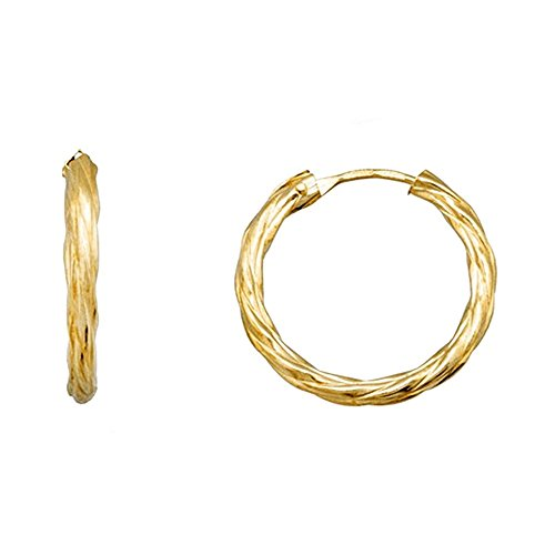Boucled'oreille 18k hoop d'or torsadé 15mm. [AA6317]