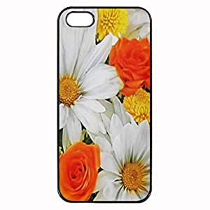 Orange Yellow White Flowers Printed Plastic Rubber Sillicone Customized iPhone 4 Case, iPhone 4S Case Cover, Protection Quique Cover, Perfect fit, Show your own personalized phone Case for iphone 4 & iphone 4S