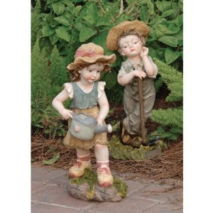 Childhood Garden Sculpture (Childhood Home Farmer Garden Statue Sculpture Figurine - Set of 2)