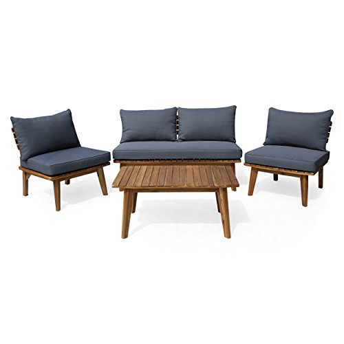 Great Deal Furniture 306121 Martha Outdoor 4 Seater Acacia Wood Chat Set, Teak and Gray, ()