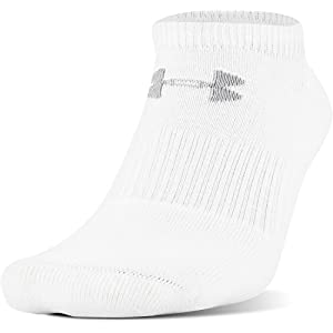 Under Armour Mens Under Armour Charged Cotton 2.0 No Show 6 Pack, White/Gray, Large