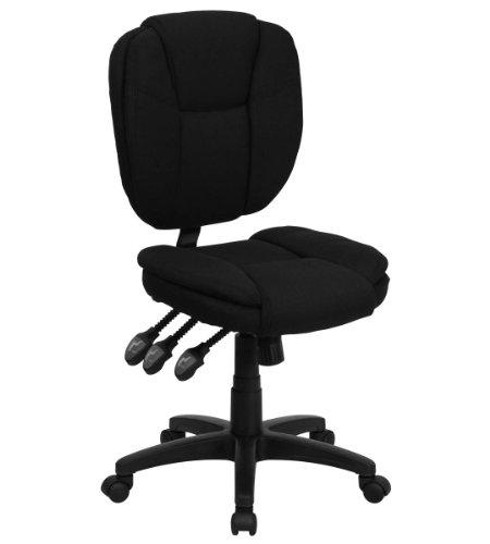 Value Star Mid-Back Multi-Functional Armless Ergonomic Black Fabric Task Chair