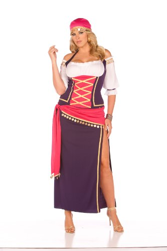 Gypsy Maiden Plus Costumes - Elegant Moments Women's Plus-Size Gypsy Maiden-Plus, Purple/White, 1X/2X