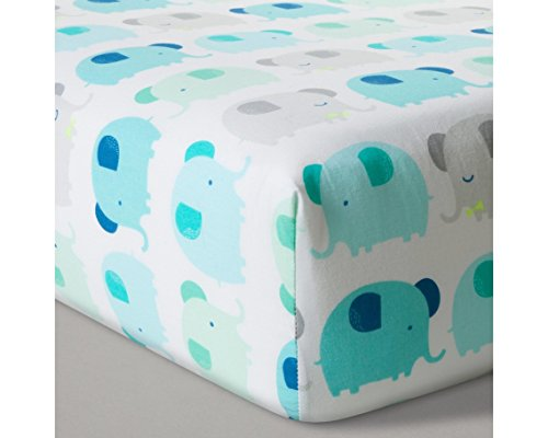 Fitted Crib Sheet Elephant Parade - Cloud Island - Blue , Green and Gray