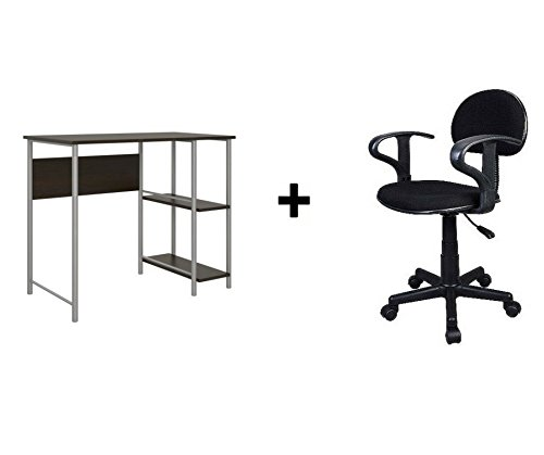 Mainstays Basic Student Desk Sturdy metal frame accented by shelving Espresso Bundle Task Chair with Arm