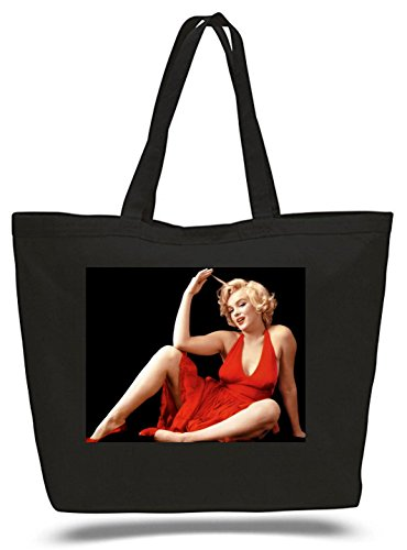 - XXL 23 x 17 x 5 Canvas Cotton Tote Bag Marilyn Monroe Red Dress