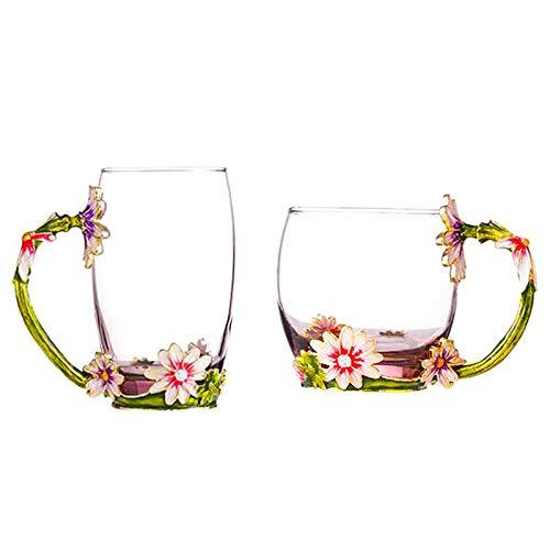 D&Z 2Pcs Enamel Glass Tea Coffee Cup With Spoon Set,Unique Handmade Flower Milk Drink Mug and Gift Box for - Mug Girl Flower