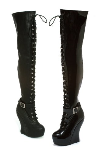 Bettie Page Boutique - Bettiepage Ophelia Knee High Lace Up Curve Wedge Ankle Strap Boot (Black PU;9)