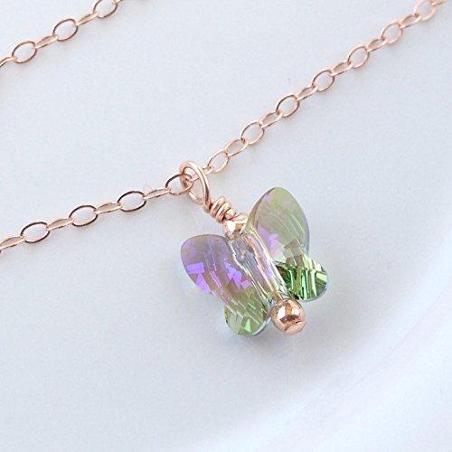 (Dainty Crystal Anklet, Butterfly Ankle Bracelet, Avail in Sterling Silver, 14k Rose Gold Filled or 14k Gold Filled)