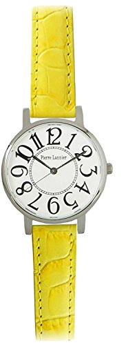 PIERRE LANNIER watch Bonheur Big Face Watch Croco Press yellow P471A600 C81 Ladies