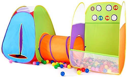 Kids Tent Fun Toss It Game Zone 3-in-1 Pop Up Tent Play Tents Indoor Outdoor Tent Great Game & Toy Gift For Children Fun By Alvantor (Include 4 balls)