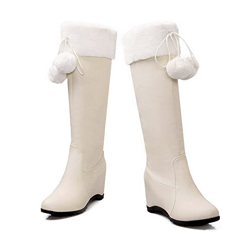 AgooLar Women's Pull-on High-Heels PU Solid High-top Boots Beige GluT1s