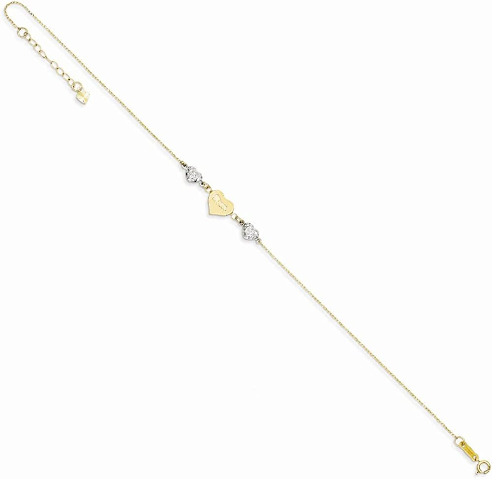 Mia Diamonds 14k Gold Adjustable Two-Tone Gold Diamond-Cut Puffed Hearts Mom with 1in Ext Anklet Bracelet 9 9in x 1mm