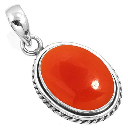 Natural Carnelian Pendant 925 Sterling Silver Handmade ()
