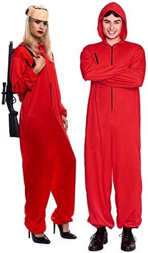 Talla S Disfraz Atracador Mono Rojo Unisex + Tallas