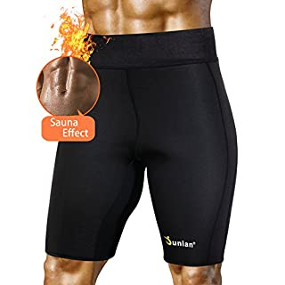 Sweat Sauna Compression Shorts Head Neoprene Body Shapers Weight Loss for Men Athletic Gym for Workout (Black, XXXL)