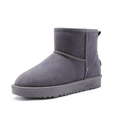 Stivali TT amp;XUEDIXUE da Flat Black Outdoor grey Scarpe pelle Khaki moda in donna Grey Heel invernali Fur Stivali neve Coffee da nYgSYrqw