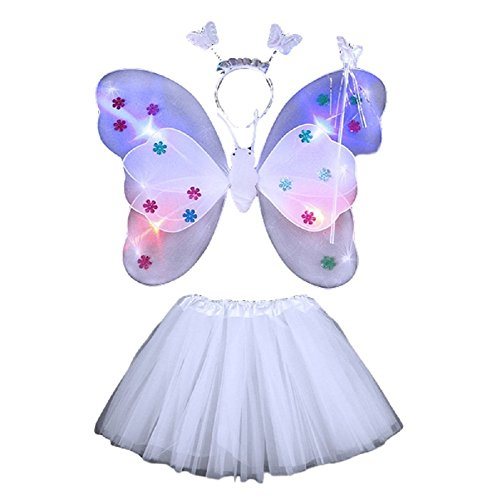 Party Godmother Costumes (MJD girl shining fairy style costume dress [Free Size, Rainbow Color, Dress 4 Piece Set] Halloween Cosplay (White))