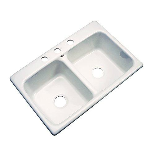 Dekor Sinks 50303 Westport Double Bowl Cast Acrylic Kitchen Sink-3 Hole, 33