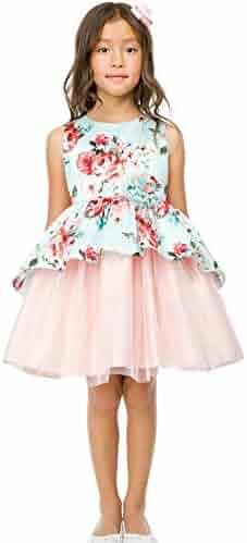 0650e17b1f Sweet Kids Little Girls Mint Floral Print Peplum Tulle Easter Dress 2-6