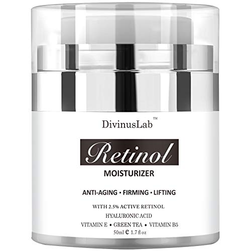 DivinusLab Retinol Moisturizer Cream - Anti Aging Face and Eye Formula - With Hyaluronic Acid, Retinol, Jojoba Oil, Vitamin E Extracts - Best Day and Night Anti Wrinkle Cream for Men and Women 1.7 oz