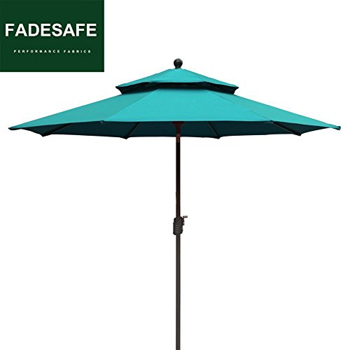 Elite Shade 9Ft Market Umbrella Patio Outdoor Table Umbrella 2 Layers with Ventilation,Bonus weatherproof Cover (Turquoise) (Patio Umbrella Wind Strong)