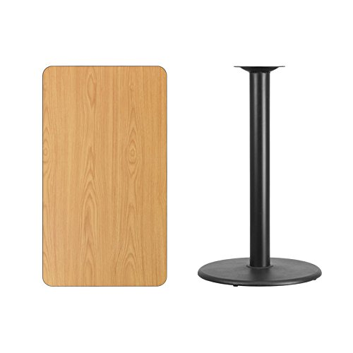 24'' x 42'' Natural Laminate Table Top With Round Base - Bar Height Restaurant Table