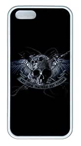iPhone 5S Case, iPhone 5S Cases -Skull With Wing TPU Rubber Soft Case Back Cover for iPhone 5/5S ¨C White